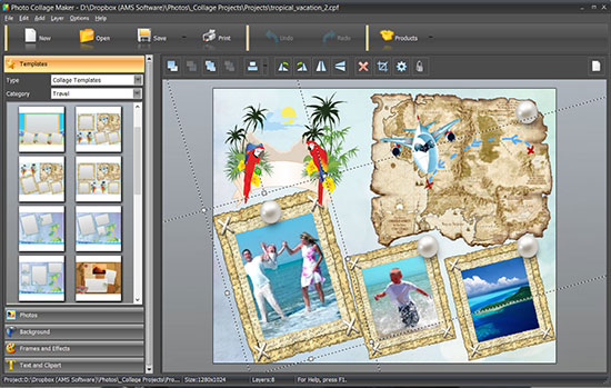 interface de logiciel de collage photo