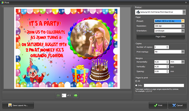 Printing your birthday invitation