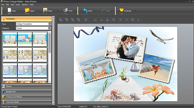 Photo album software interface